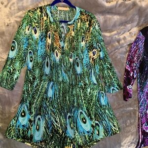 """EUC Colorful Peacock Blue print """"LA CERA"""" Tunic"""
